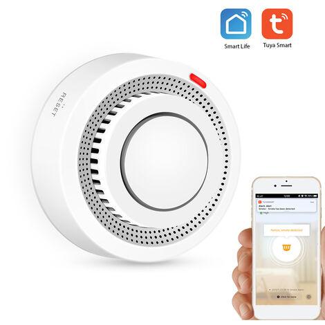 Detecteur de fumee intelligent Tuya WiFi Detecteur de fumee intelligent Prise en charge de l'alarme de l'application mobile Telecommande