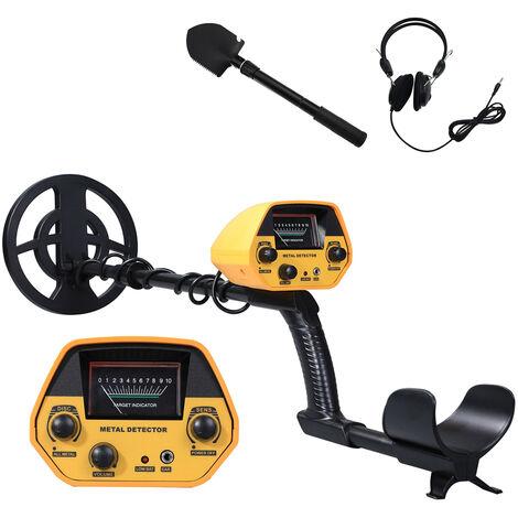 Detecteur de metaux haute precision GTX5030, detecteur de tresors d'or souterrain, sans ecouteurs, ensemble avec ecouteur + pelle pliante en metal (livresans batterie)