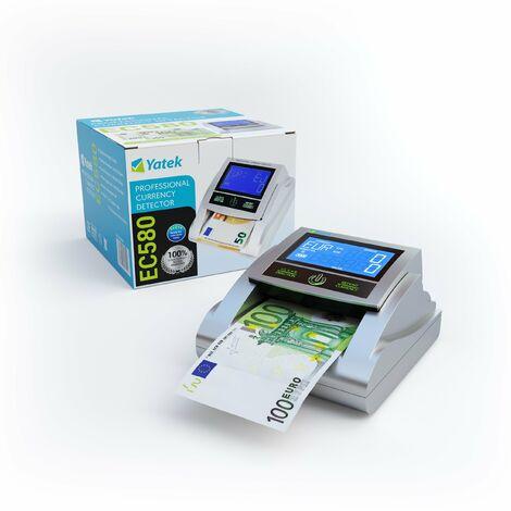 Detector de billetes falsos Yatek EC580 con 6 métodos de detección, con batería incluida y preparado para los nuevos billetes de 100 y 200€