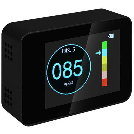 Detector de calidad del aire, laser PM2.5 PM10 PM1.0 Detectores, negro