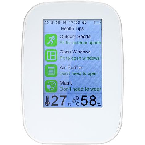 Detector de calidad del aire, probador HCHO y TVOC para interiores / exteriores, medidor de CO2