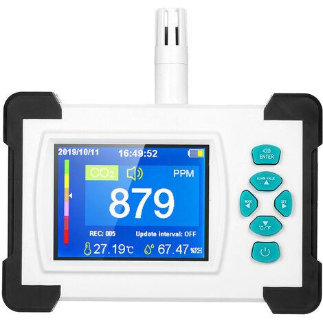 Detector de dioxido de carbono, medidor de CO2, con bateria recargable