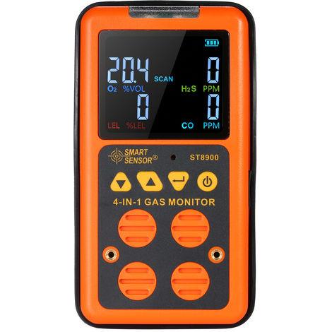 Detector de gas 4 en 1, detector de gas CO toxico, alarma de vibracion de sonido y luz