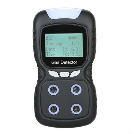 Detector de gas 4 en 1, monitor de CO digital, con pantalla LCD de sonido + alarma de vibracion de luz