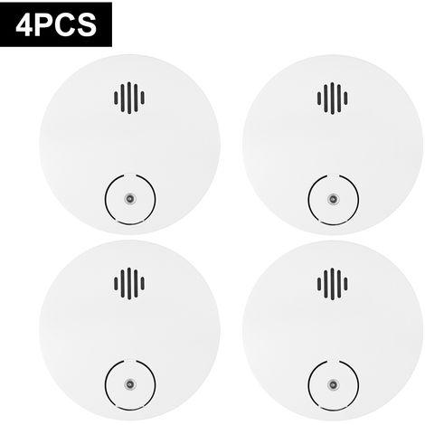 Detector de humo inalambrico, alarma contra incendios fotoelectrico, 4pcs