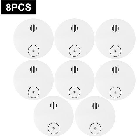 Detector de humo inalambrico, alarma contra incendios fotoelectrico, 8pcs