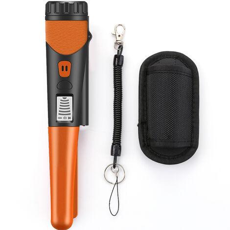 Detector de metales, portatil de alta sensibilidad del detector de metales con un solo boton detector de oro Indicador LED con tejido Funda Bolsa (naranja)