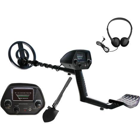 Detector de metales subterraneo, con auriculares y pala y bolsa