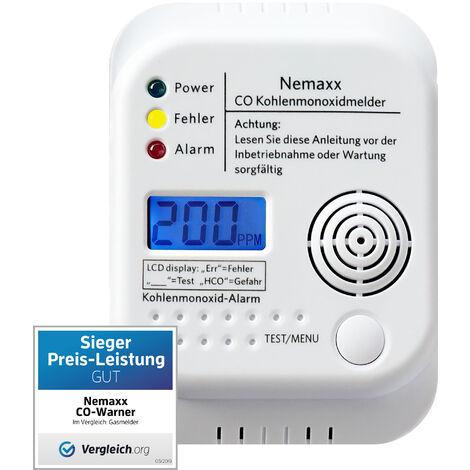 Detector inalámbrico de monóxido de carbono Nemaxx a pilas de acuerdo con la norma EN50291