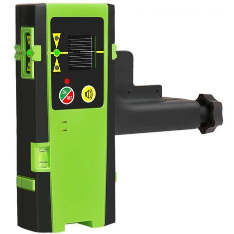 Detector láser para nivel láser de línea, receptor láser digital Huepar LR-6RG usado con láser de línea pulsante de hasta 60m, detección de rayos láser verde y rojo, pantallas LED de tres lados