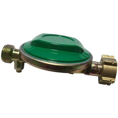 Détendeur NF pour consigne de gaz 13kg Butane, 28Mbar sortie M20x1,5mm, avec sécurité