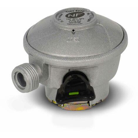 Détendeur NF pour consigne de gaz Quick-On Propane - 37Mbar sortie M20x1,5mm, avec sécurité, pour ELFI, CALYPSO, MALICE, TWINY, CLAIRGAZ, SHESHA