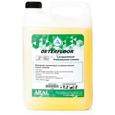 Detergente Professionale Deterfloor Aral Profumazione Limone Tanica 5 Kg Made in Italy