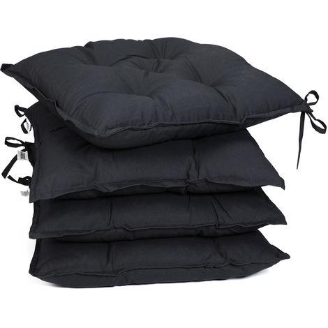 Detex 4x Seat Cushion Chair Pads 41x41cm Indoor Outdoor Memory Foam Visco Elastic Weatherproof