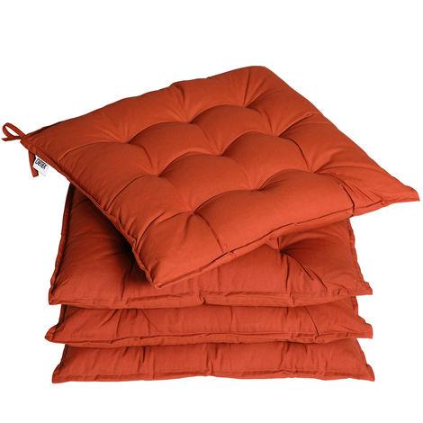 Detex 4x Seat Cushion Chair Pads Indoor Outdoor Memory Foam Visco Elastic Weatherproof terracotta (de)
