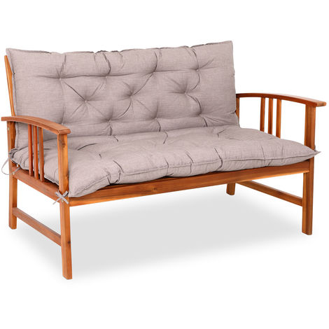 Detex Bench Cushion Seat Pad 110 x 100 cm Visco Effect Indoor Outdoor Back Rest