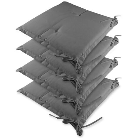 """main image of """"Detex Chair Cushions Sydney Set of 4 Water-repellent Seat Chair Outdoor Cushions Grey"""""""