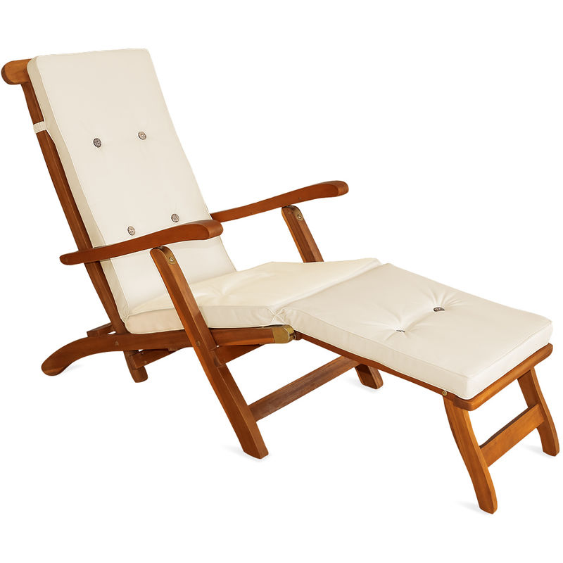 pour chaise 173 soleil Matelas Transat de cm Bain Detex Coussin CRÈME Jardin longue TJFKl31c