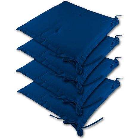 Detex Cuscini per Sedia x4 Effetto visco Cordoncini Interno Esterno sedie Giardino Cucina Cuscino coprisedia Blu
