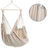 Detex Silla colgante con barra transversal de madera hamaca de color crema para interior y exterior jardín 185x130x155 cm