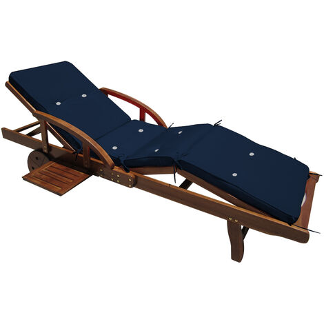 Detex Sun Lounger Cushions 195 x 55 x 5 cm Pads Waterproof Steamer Recliner Relaxer Seating Cushion Pads Blue