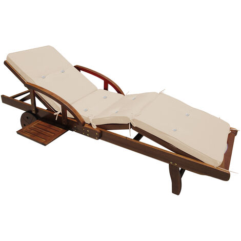 Detex Sun Lounger Cushions 195 x 55 x 5 cm Pads Waterproof Steamer Recliner Relaxer Seating Cushion Pads Cream