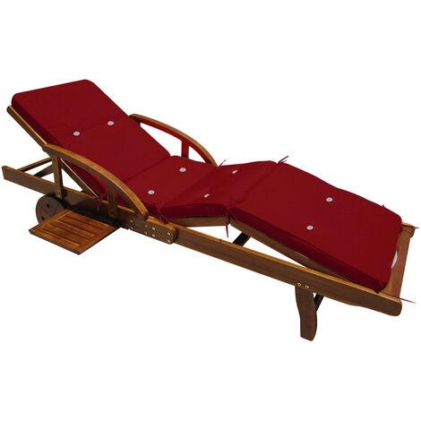 Detex Sun Lounger Cushions 195 x 55 x 5 cm Pads Waterproof Steamer Recliner Relaxer Seating Cushion Pads Dark-red