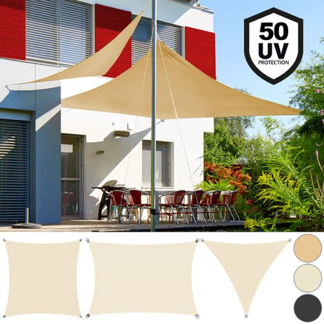 Ankuka 3m x 4m Beige Sun Shade Sail Water Resistant Outdoor Garden Sun Sail Waterproof Shade Sail Canopy 98/% UV Block With Free Rope