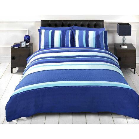 Detroit Blue White Striped Duvet Cover Quilt Bedding Set, Double