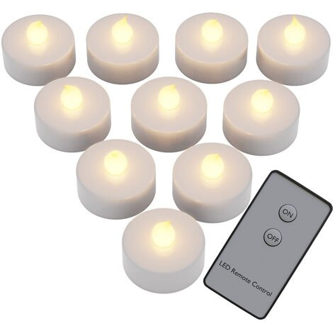 Deuba 10 x Flickering LED Candles Battery Operated with Remote Control and Batteries Flameless Tea Lights White Candle Light
