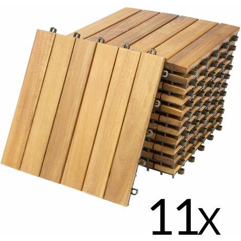 Deuba 11x Holzfliesen Akazie | 1m² Fliese 30x30 cm Stecksystem Mosaik | Zuschneidbar Terrasse Balkon Holzboden Klick