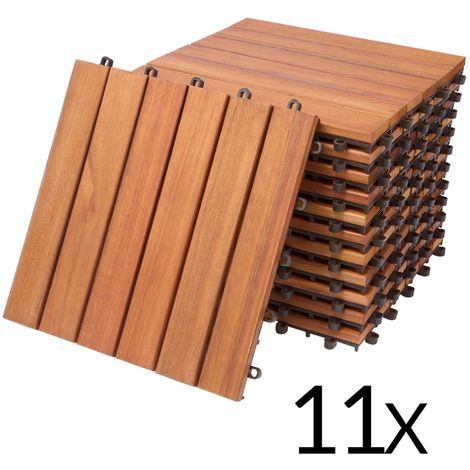 Deuba 11x Holzfliesen Eukalyptus | 1m² Fliese 30x30 cm Stecksystem Mosaik | Zuschneidbar Terrasse Balkon Holzboden Klick