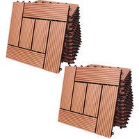 Deuba 22x Baldosas de madera compuesta WPC mosaicas Terracota 30 x 30 cm losas de suelo losetas jardín terraza exterior