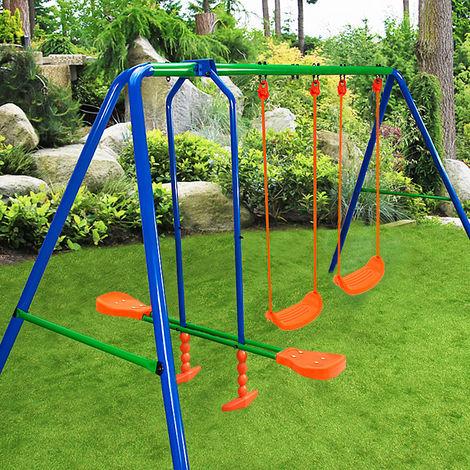Deuba 2en1 columpio y balancín de acero Azul y Naranja juego para niños de jardín exterior protección piernas