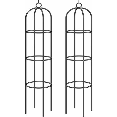 Deuba 2x Columnas para rosas plantas trepadoras viñas obelisco de exterior jardín soporte decorativo 200 x 40 cm Negro