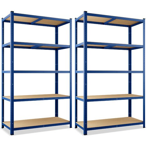 "main image of ""Deuba 2x Estanterías de metal Azul 5 niveles Almacenamiento - Bricolaje 180x90x40 cm Carga máxima de 875kg taller garaje"""