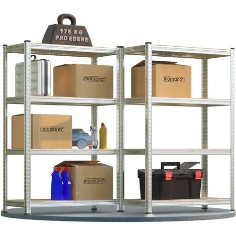 Deuba 2x Shelves Shelving Units Storage Unit Garage Racking 4 Tier Metal Rack Boltless Heavy Duty 160x90x40cm 700Kg