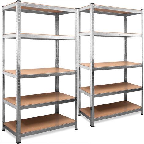 Deuba 2x Shelves Shelving Units Storage Unit Garage Racking 5 Tier Metal Rack Boltless Heavy Duty 170x75x30cm/66.9x29.5x11.8in