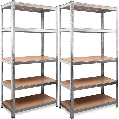 Deuba 2x Shelves Shelving Units Storage Unit Garage Racking 5 Tier Metal Rack Boltless Heavy Duty 170 x 75 x 30 cm