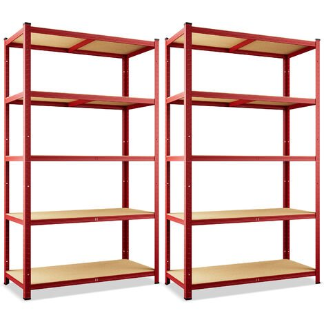 Deuba 2x Shelves Shelving Units Storage Unit Garage Racking Set 5 Tier Metal Rack Boltless Heavy Duty 180 x 90 x 40 cm