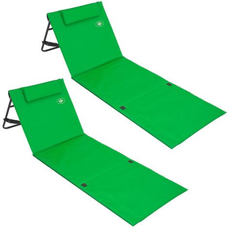 Deuba 2x Tumbonas acolchadas Verde con respaldo regulable y correa de transporte bolsillo con cremallera silla playa