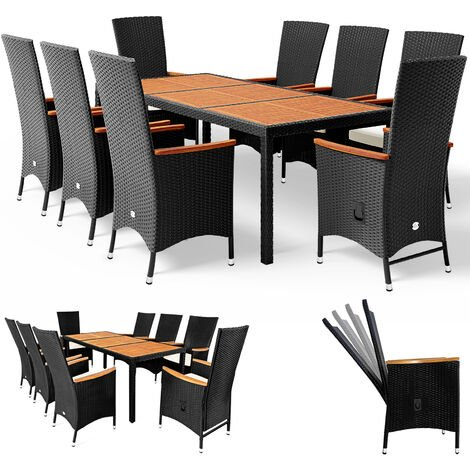 Deuba 8+1 Rattan Dining Table and Chairs Set Patio Outdoor Garden Conservatory Wooden Rectangular Table Top