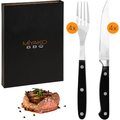 Deuba 8 pcs Steak Cutlery Set stainless steel with serrated edge incl. storage box 4 Steak knives