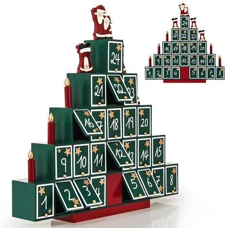 Tannenbaum Adventskalender Holz.Deuba Adventskalender Tannenbaum Diy Weihnachten Kinder Geschenk Kalender 2018 Zum Selber Befüllen Holz Türchen Deko