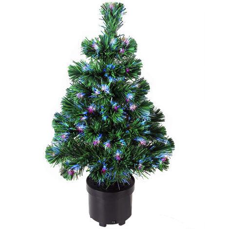 Deuba Árbol de navidad con luz de 60 cm fibra óptica decoración interior multicolor 9 efectos de luces iluminación casa
