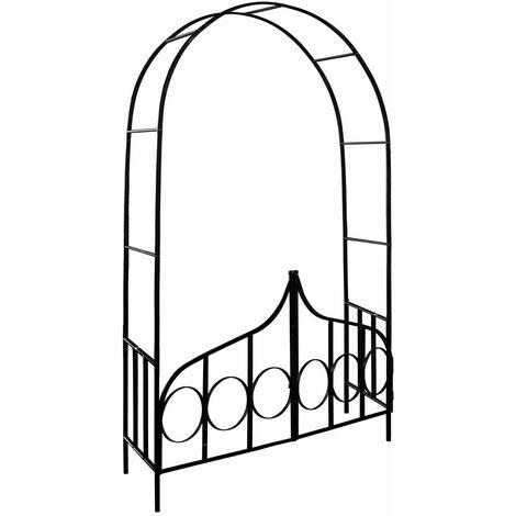 Deuba Arco para Rosas y Plantas trepadoras enredadoras de Metal pulverizado 240x140x40cm con puerta para jardín decoración