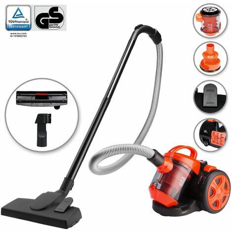 Deuba Aspiradora multi ciclón sin bolsa clase A cap máxima de 3L Naranja y Negro limpieza interior suelos alfombras