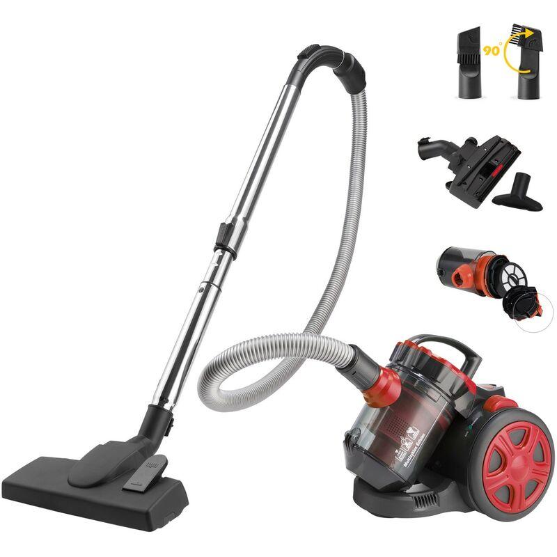 Deuba Aspiradora multiciclónica sin bolsa 900W con filtro HEPA capacidad de 3 litros silenciosa cepillo 2en1 para muebles suelo