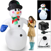 Deuba Aufblasbarer Schneemann XXL | 240cm | LED-Beleuchtung | Befestigungsmaterial | Deko Schneemann Weihnachten