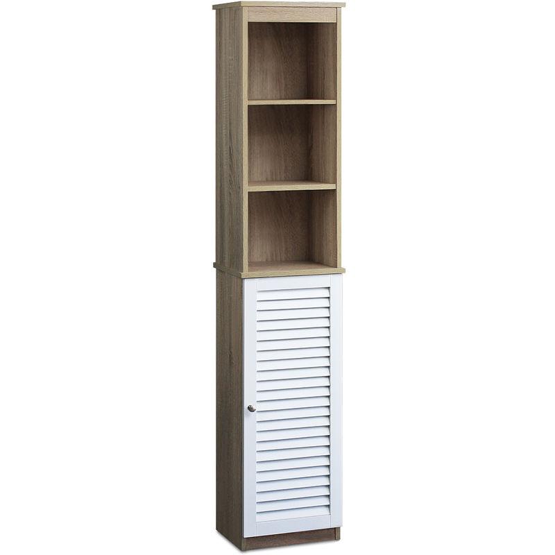Deuba Badezimmerhochschrank Hochschrank Weiß Eiche 6 Fächer Tür mit  Magnetverschluss Schmal Hoch 170x34x26cm Bad Regal